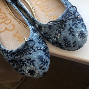 Embroidered bow ballet flats floral denim leather